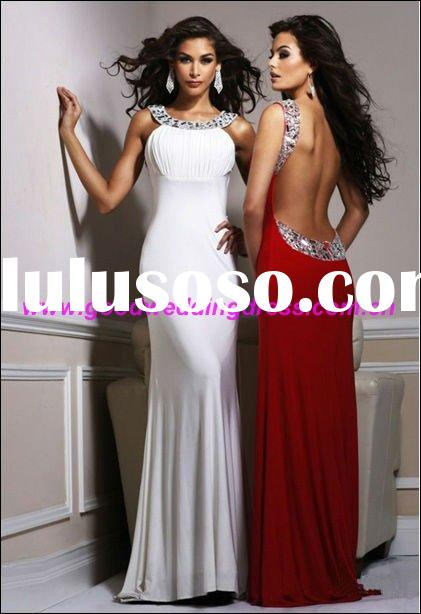 2012 Latest Designs Fashion Long Beaded Backless Prom Dresses