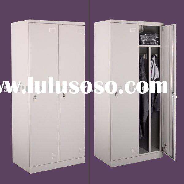 2 doors staff clothes hanging storage metal wardrobe locker