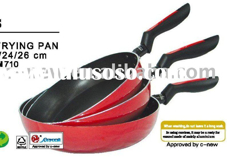3pcs porcelain enameled non-stick aluminium frying pan/enamelware/cookware set