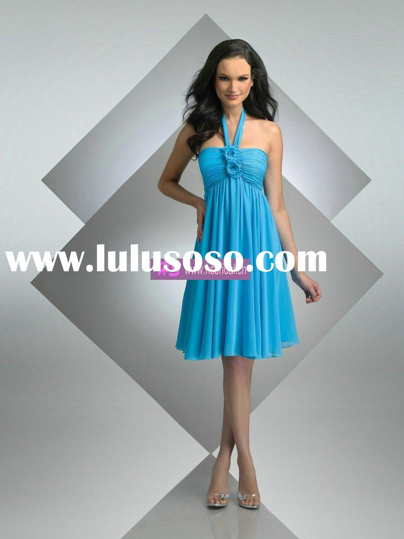 A-line Strapless Chiffon Knee-length Blue Prom Dresses 2011