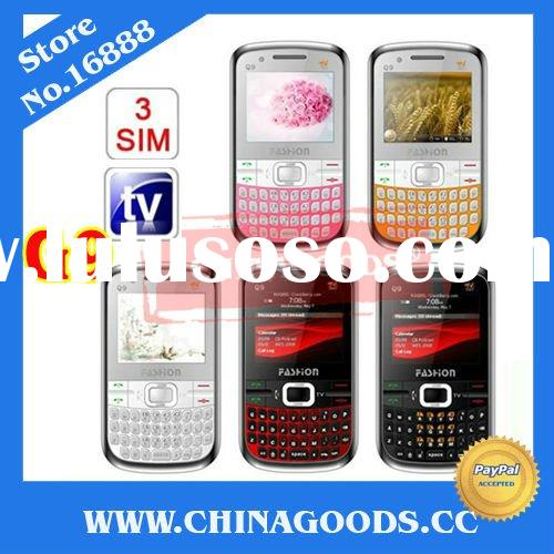 Accept paypal Q9 unlocked three sim cards Torch TV GSM Quad Band Eyo cellphone