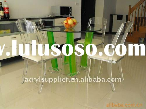 Acrylic dining tables and chairs at home