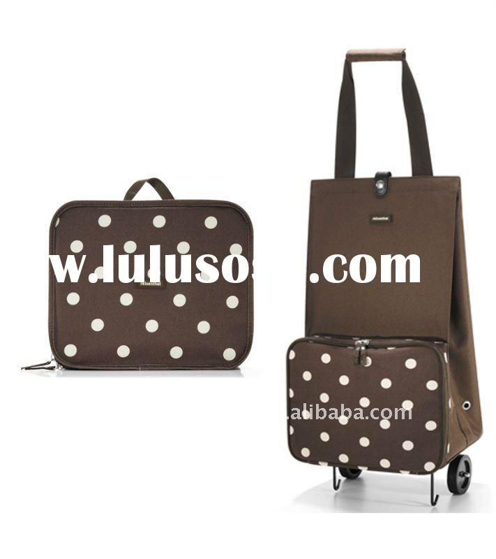 Brown Dots Pattern folding shopping bag with wheels