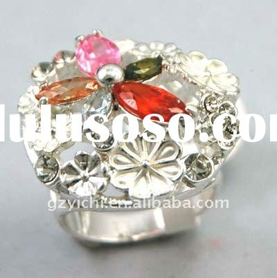 Chucky Color Cz Flower Ring 2012 Spring Fashion Jewelry