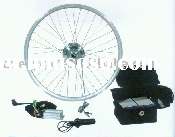 DIY electric bicycle kit with 36V lead acid pack on rack.