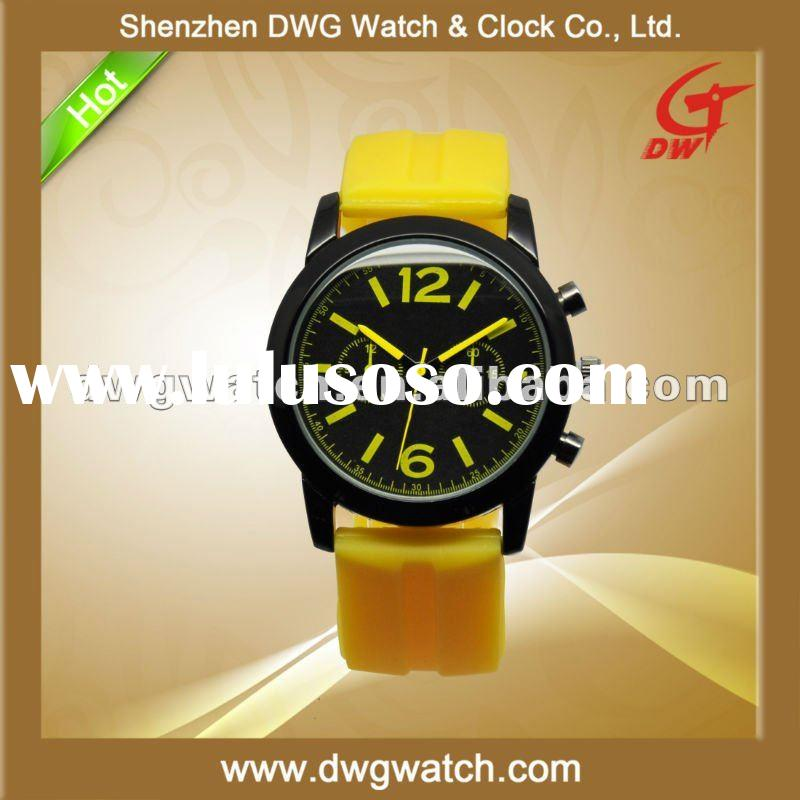 Fashion 3 ATM Waterproof Sport Silicone Rubber Watch with Quality Band DWG--R0006-2