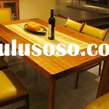 Fine quality wood dining table with marble inlay