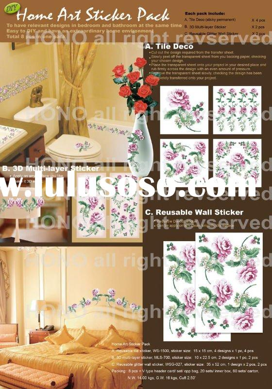 Glitter wall sticker, tile sticker and 3D sticker