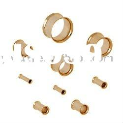 Gold plated 316l stainless steel flesh tunnel body jewelry,ear plugs body piercing jewelry,ear gauge