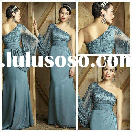 High Quality One Shoulder Evening Dress Long Sleeve