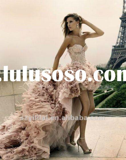 Hot Sale Luxury Pink Front Short And Long Back Feather Mix With Crystals Wedding Dress