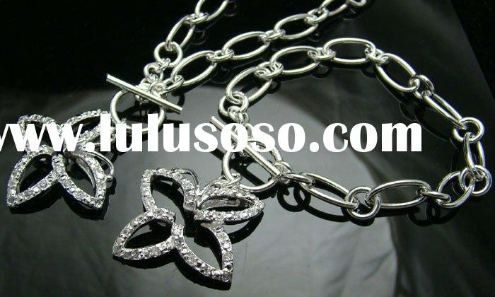 Hot sale 925 sterling silver crystal jewelry set,fashion jewelry,jewelry set qc040