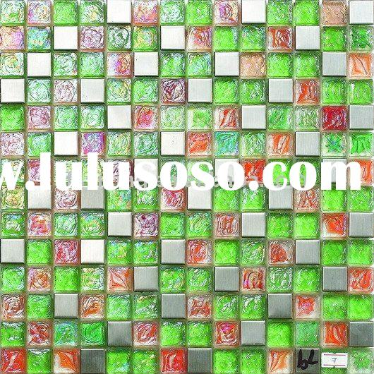 Kitchen Mosaic Backsplash Tile-Colored Glass Mixed 304# Stainless Steel Mosaic GM05