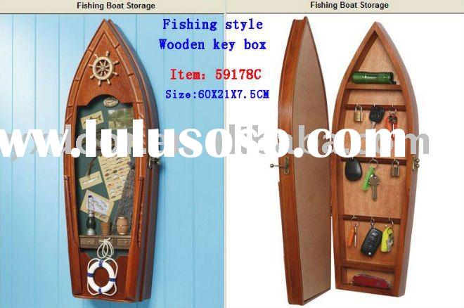 Nautical wooden key box/ wooden key cabinet/ Fishing Boat storage