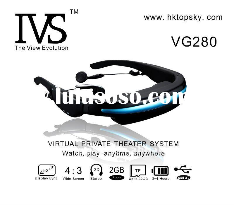 Portable wireless 2GB 52inch 3d video glasses full hd low price VG280A