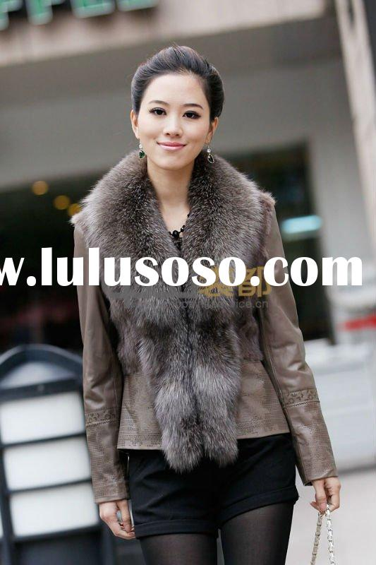 QD11559 Sheep skin leather jacket with fox collar and mink fur