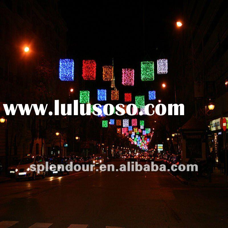 RGB street hanging LED commercial Christmas project motif light/ LED holiday decoration motif light/
