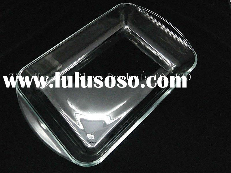 Rectangular high borosilicate pyrex glass bake oven pan/baking dish/baking tray/microwave bakeware/c