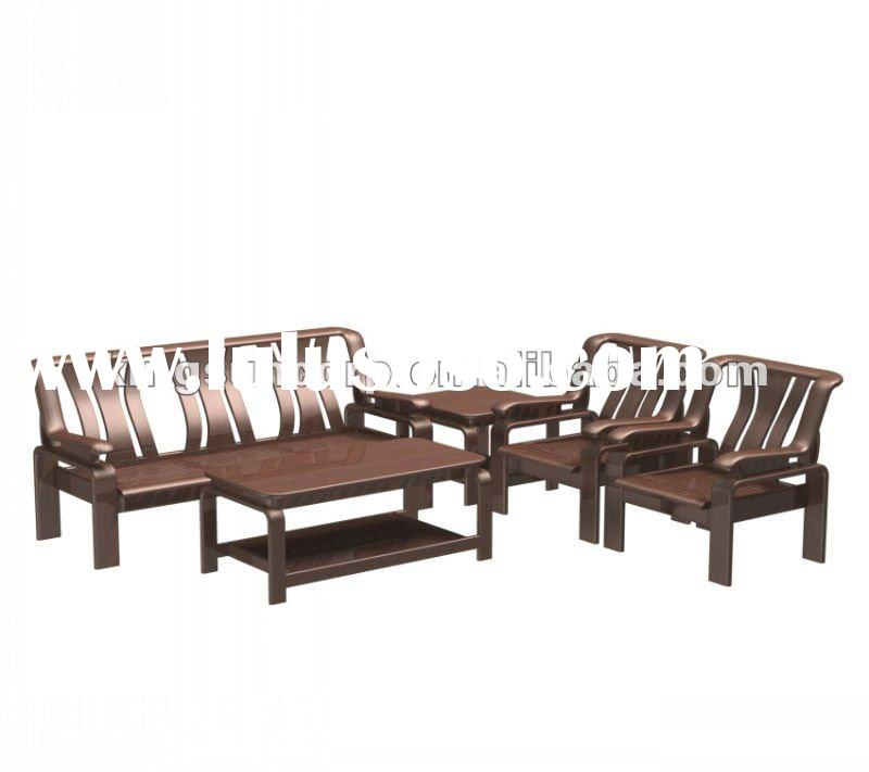 Solid rubber wood sofa with table S8905