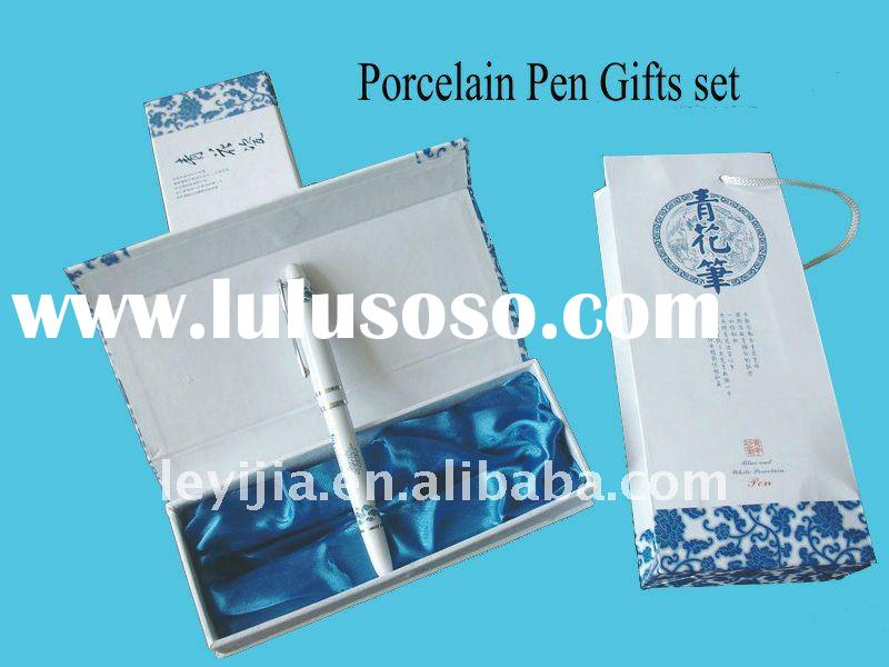 Symbol of Good Luck and Happiness Metal Porcelain Pen Gift Set