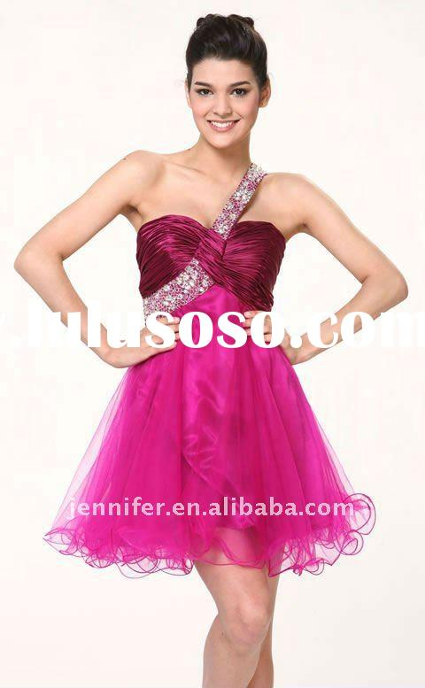 Top popular 2011 new fashion one shoulder pink short beaded evening dress (abh242)