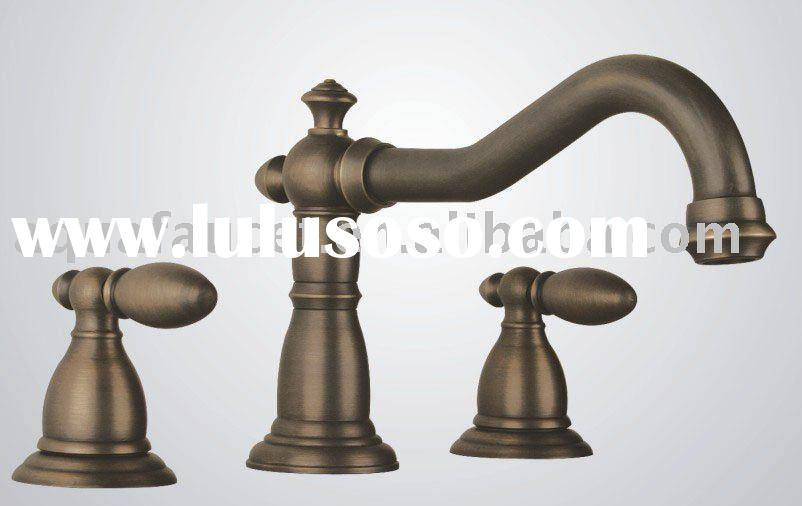 Two handle wall mount antique bronze brass widespread bathroom vessel sink basin faucet mixer tap