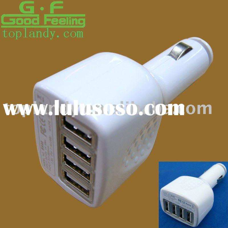 White 4-port usb car charger adapter for iphone/ipad