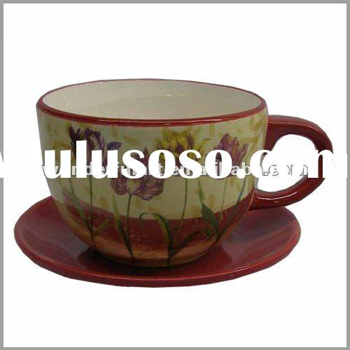 ceramic flower coffee cup and saucer