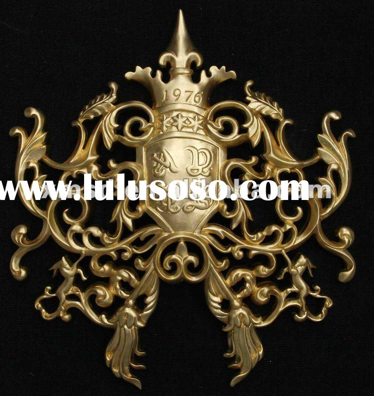 custom made logo wood carving craft with gold leaf