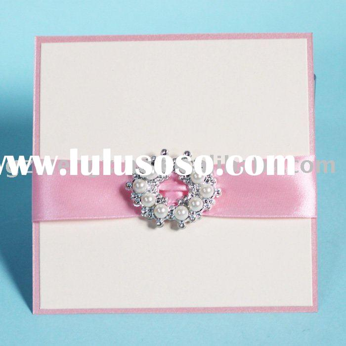 dazzling invitation wedding cards with white pearl paper box -- EA021
