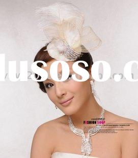 fashoin hair accessories HA-50026,Feather hair ornament hat bride bridal jewelry diamond wedding dre