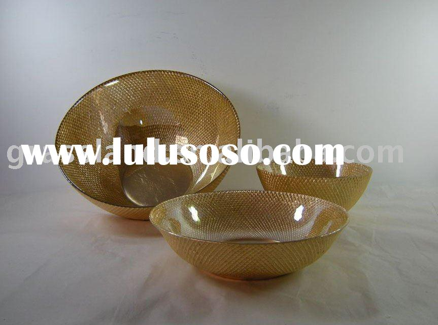 gold foil glass salad bowls and soup plate