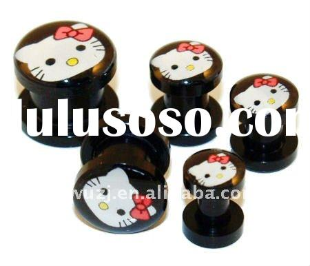 hello kity screw on acrylic ear plugs body piercing jewelry,ear plugs,ear gauge, body piercing jewer