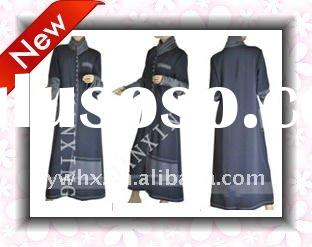 knit collar dark cerulean julibab dress,women abayas,muslim dress for women