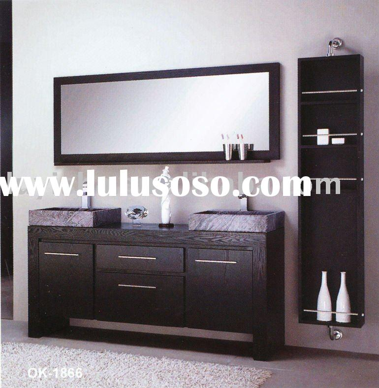 modern double sinks solid wood bathroom cabinet OK1866