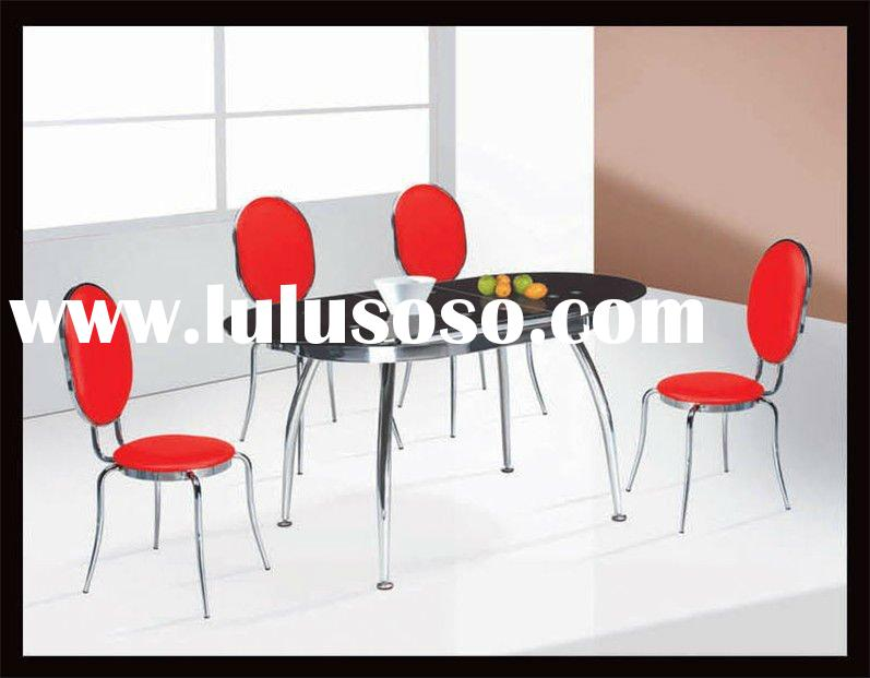 modern ext oval glass top and metal 6 sectors dining table and chairs,dining sets