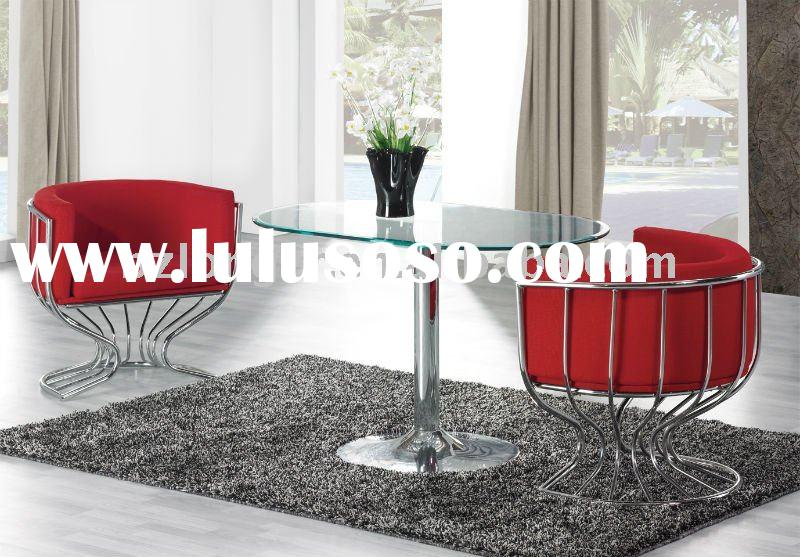 modern oval tempered glass top dining table