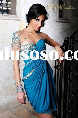 royal blue transparent sleeve knee length one shoulder long sleeve evening dresses