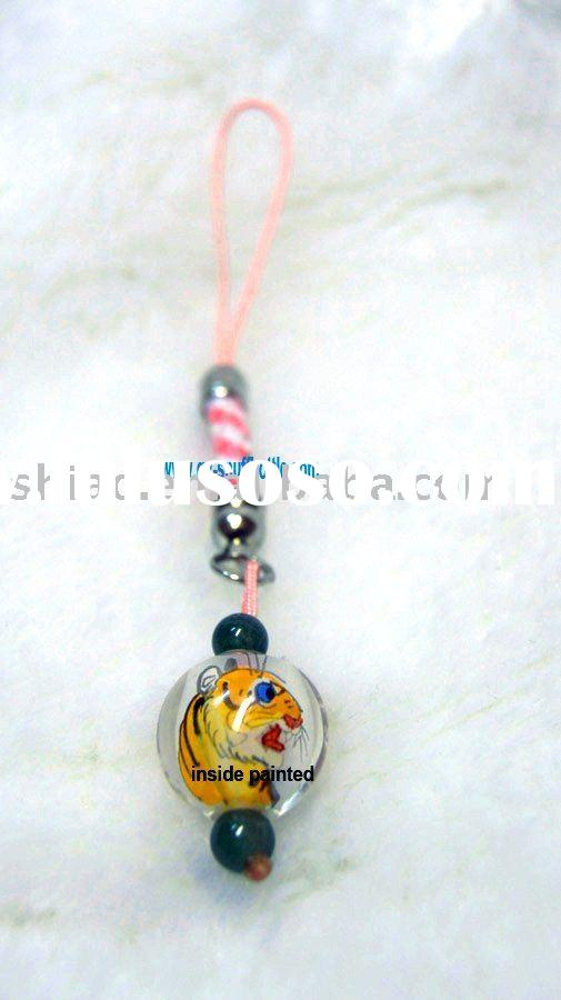 small crystal decoration for mobile phone charm inside painted Zodiac tiger picture better price
