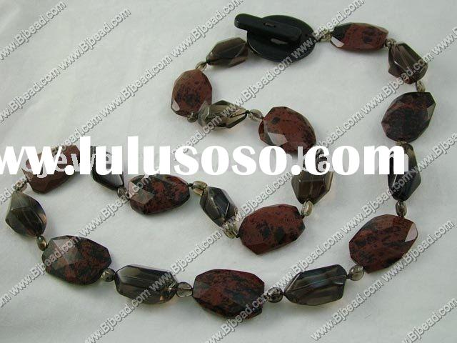 smoky quartz stone necklace, stone jewelry