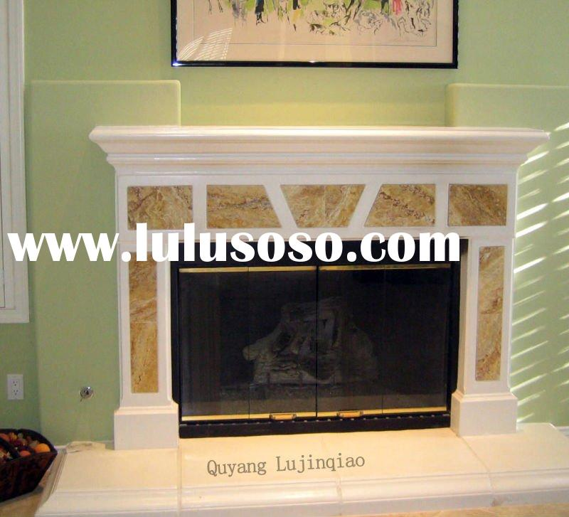 white stone surround/marble fireplace/stone fireplace