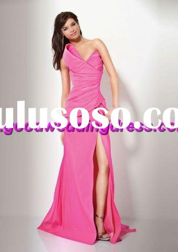 wholesale hot sale strapless side vent hand made evening dress/evening gown/pink prom dresses