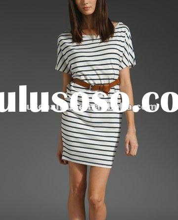 12DR043 2012 hot selling Summer Fashion ladies Vertical stripe dress