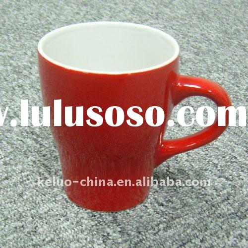 12oz red and white ceramic mug