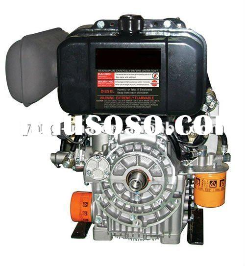 15HP air cooled 2 cylinder V-Twin type electric start horizontal /vertical shaft diesel engine with