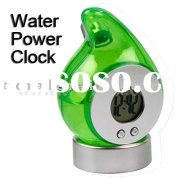 2012 Cute and Reusable Digital LCD Screen Display Water Power Clock with Base