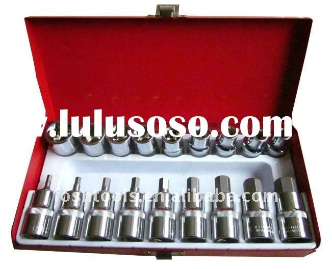 9-delig E-Socket / 9-delig star-dop set bit tool set in metal box