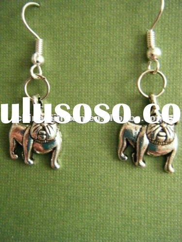 ANTIQUED SILVER DANGLE EARRINGS BULLDOGS HYPO ALLERGENIC EARWIRES