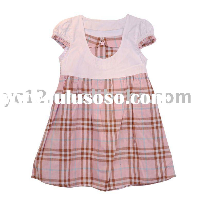 Cotton Small Cap Sleeve Round Neck Girl Plaid Dresses