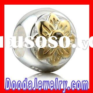 European Sterling Silver Charm Beads With Gold Plated Flower